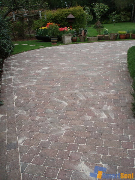 Block paving after cleaning and re-sanding